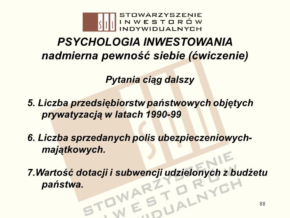 88 PSYCHOLOGIA INWESTOWANIA nadmierna pewność siebie (ćwiczenie) Pytania ciąg dalszy 5. Liczba przedsiębiorstw państwowych objętych prywatyzacją w lat