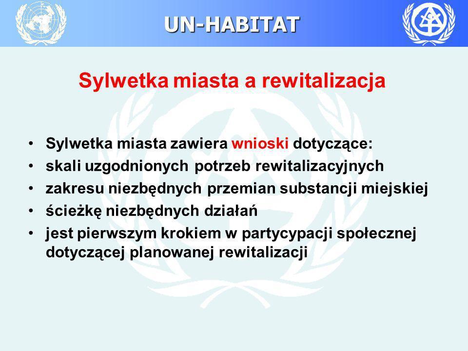 UN-HABITAT Sylwetka miasta a rewitalizacja Sylwetka miasta zawiera wnioski dotyczące: skali uzgodnionych potrzeb rewitalizacyjnych zakresu niezbędnych
