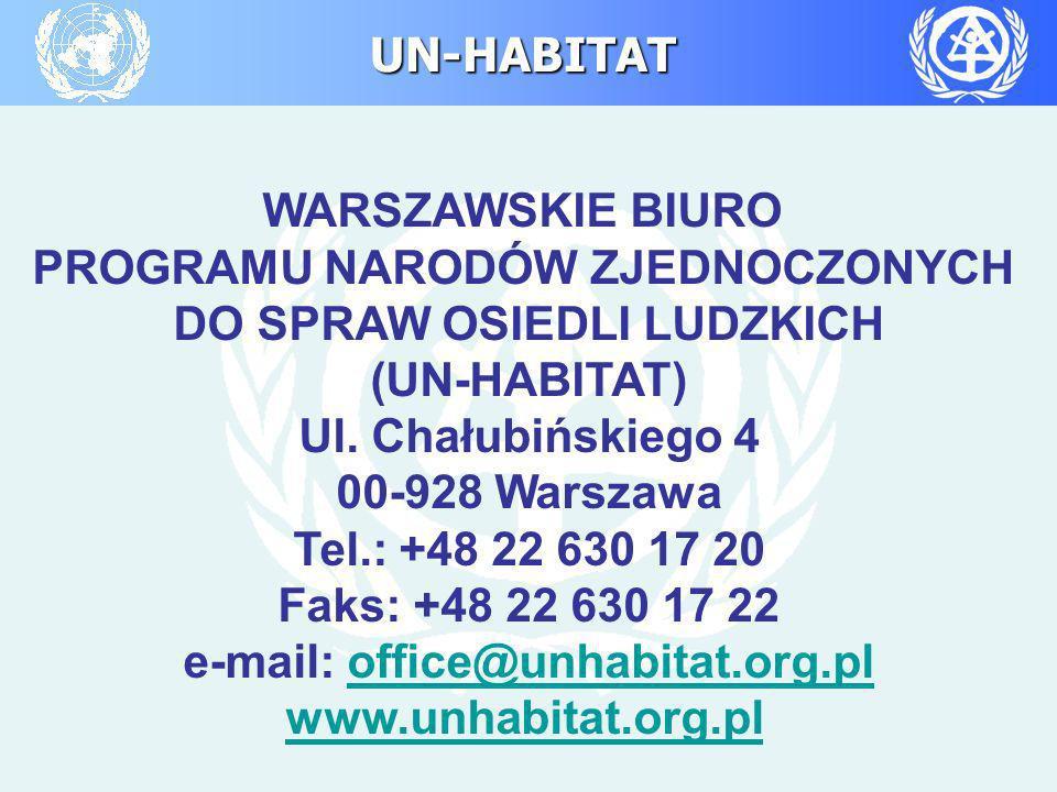 UN-HABITAT WARSZAWSKIE BIURO PROGRAMU NARODÓW ZJEDNOCZONYCH DO SPRAW OSIEDLI LUDZKICH (UN-HABITAT) Ul. Chałubińskiego 4 00-928 Warszawa Tel.: +48 22 6
