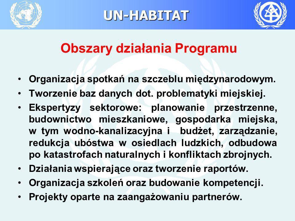 UN-HABITAT Organizacja spotkań na szczeblu międzynarodowym. Tworzenie baz danych dot. problematyki miejskiej. Ekspertyzy sektorowe: planowanie przestr