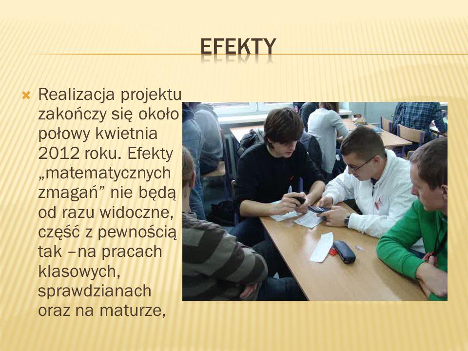 Realizacja projektu zakończy się około połowy kwietnia 2012 roku. Efekty matematycznych zmagań nie będą od razu widoczne, część z pewnością tak –na pr