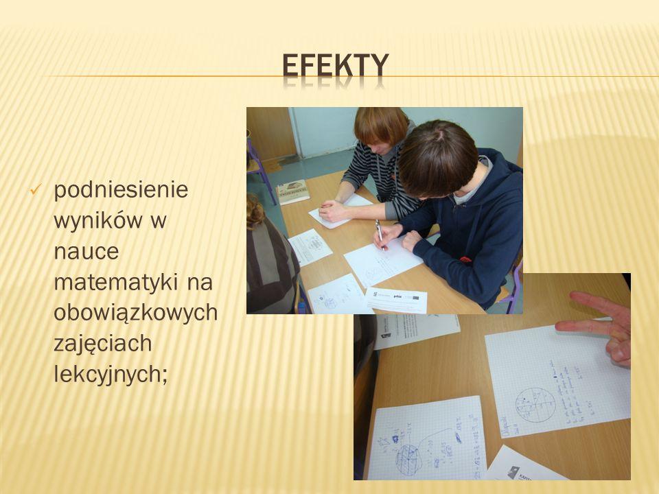 podniesienie wyników w nauce matematyki na obowiązkowych zajęciach lekcyjnych;