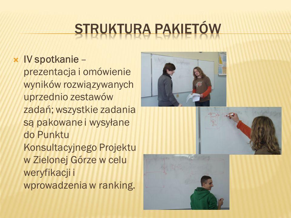 IV spotkanie – prezentacja i omówienie wyników rozwiązywanych uprzednio zestawów zadań; wszystkie zadania są pakowane i wysyłane do Punktu Konsultacyj