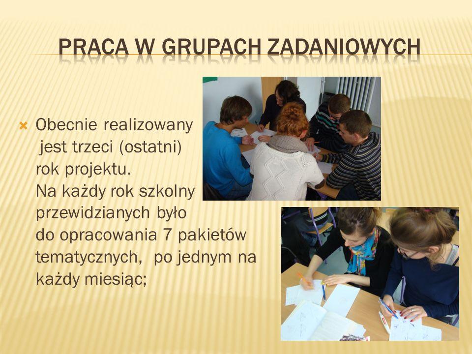 Obecnie realizowany jest trzeci (ostatni) rok projektu. Na każdy rok szkolny przewidzianych było do opracowania 7 pakietów tematycznych, po jednym na