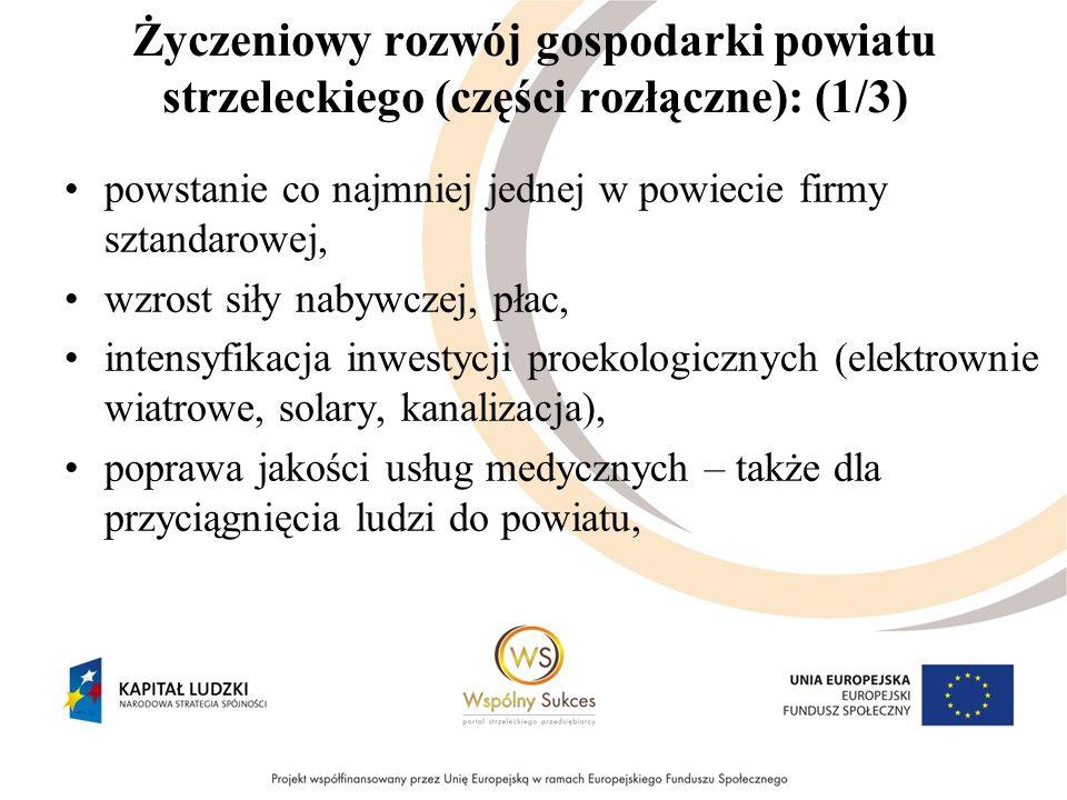 Życzeniowy rozwój gospodarki powiatu strzeleckiego (części rozłączne): (1/3) powstanie co najmniej jednej w powiecie firmy sztandarowej, wzrost siły n