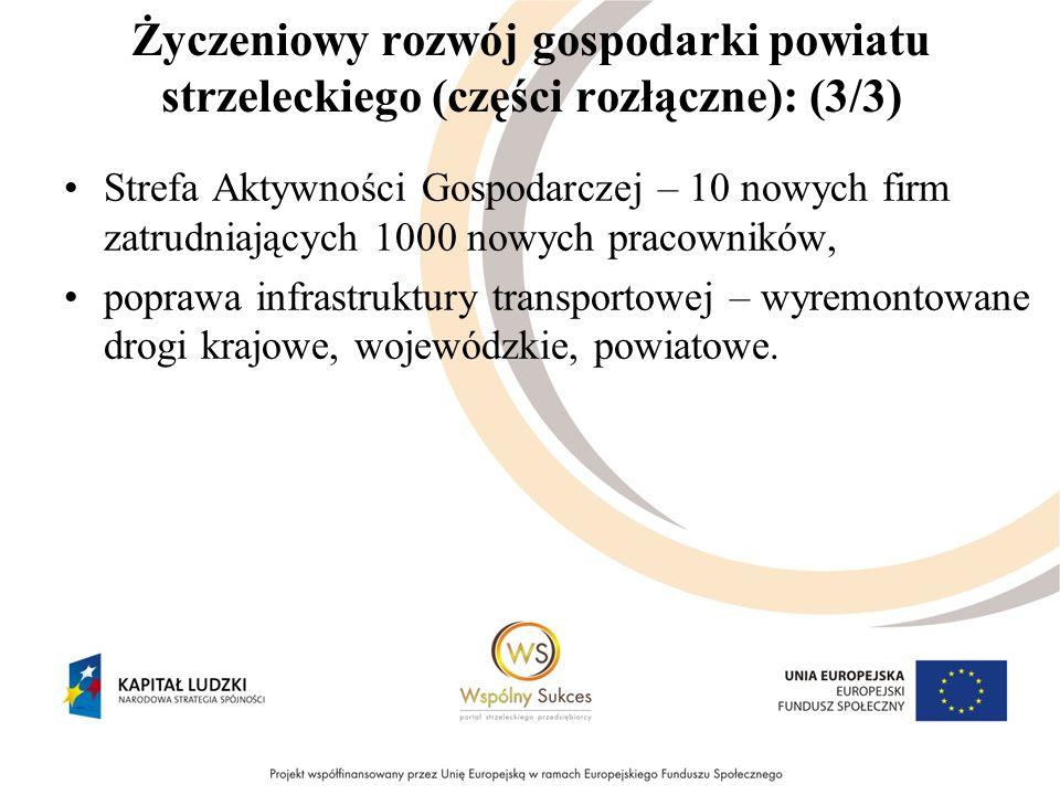 Życzeniowy rozwój gospodarki powiatu strzeleckiego (części rozłączne): (3/3) Strefa Aktywności Gospodarczej – 10 nowych firm zatrudniających 1000 nowy