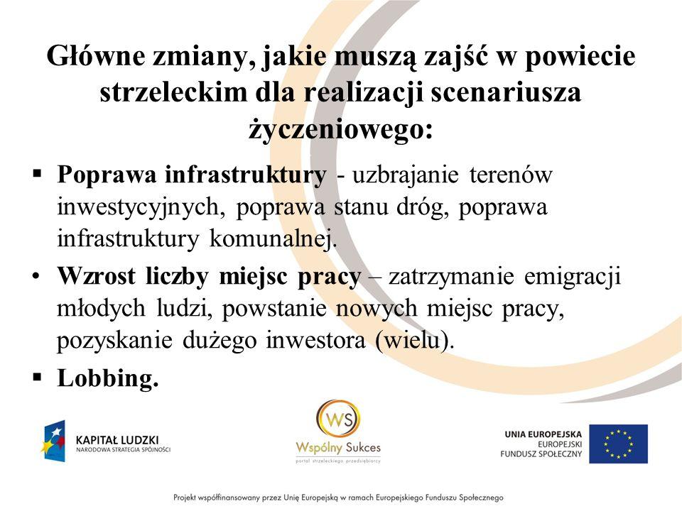 Główne zmiany, jakie muszą zajść w powiecie strzeleckim dla realizacji scenariusza życzeniowego: Poprawa infrastruktury - uzbrajanie terenów inwestycy
