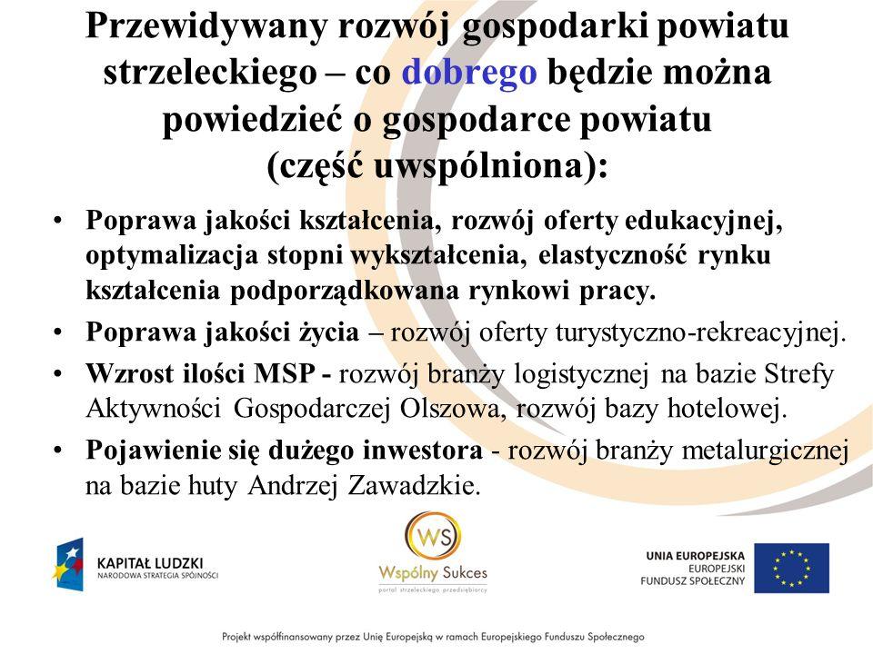 Przewidywany rozwój gospodarki powiatu strzeleckiego – co dobrego będzie można powiedzieć o gospodarce powiatu (część uwspólniona): Poprawa jakości ks