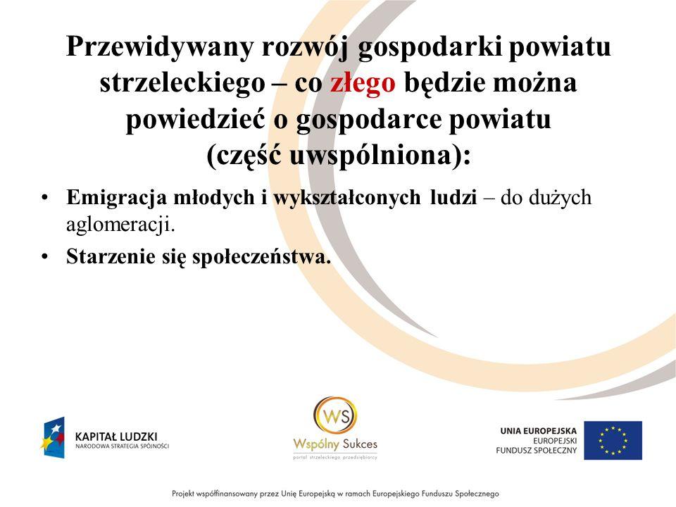 Przewidywany rozwój gospodarki powiatu strzeleckiego – co złego będzie można powiedzieć o gospodarce powiatu (część uwspólniona): Emigracja młodych i wykształconych ludzi – do dużych aglomeracji.
