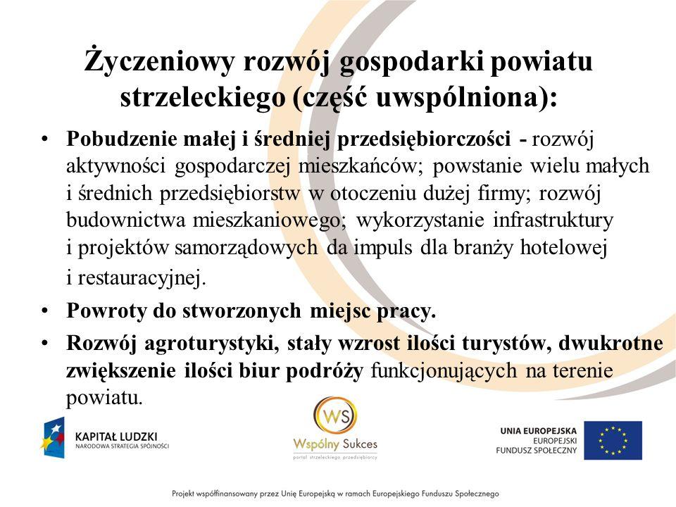 Życzeniowy rozwój gospodarki powiatu strzeleckiego (część uwspólniona): Pobudzenie małej i średniej przedsiębiorczości - rozwój aktywności gospodarcze