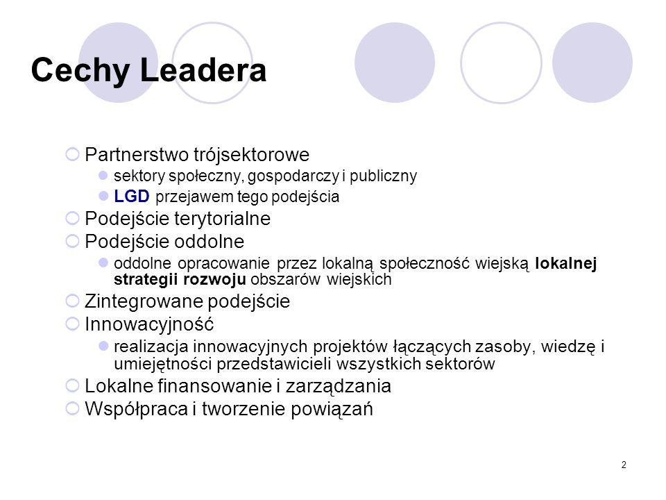 2 Cechy Leadera Partnerstwo trójsektorowe sektory społeczny, gospodarczy i publiczny LGD przejawem tego podejścia Podejście terytorialne Podejście odd