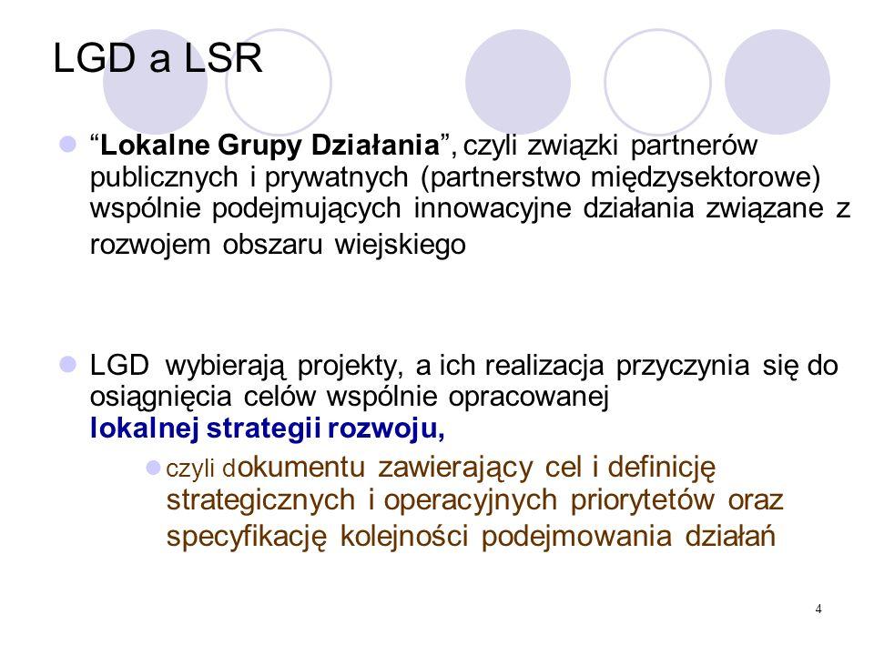4 LGD a LSR Lokalne Grupy Działania, czyli związki partnerów publicznych i prywatnych (partnerstwo międzysektorowe) wspólnie podejmujących innowacyjne