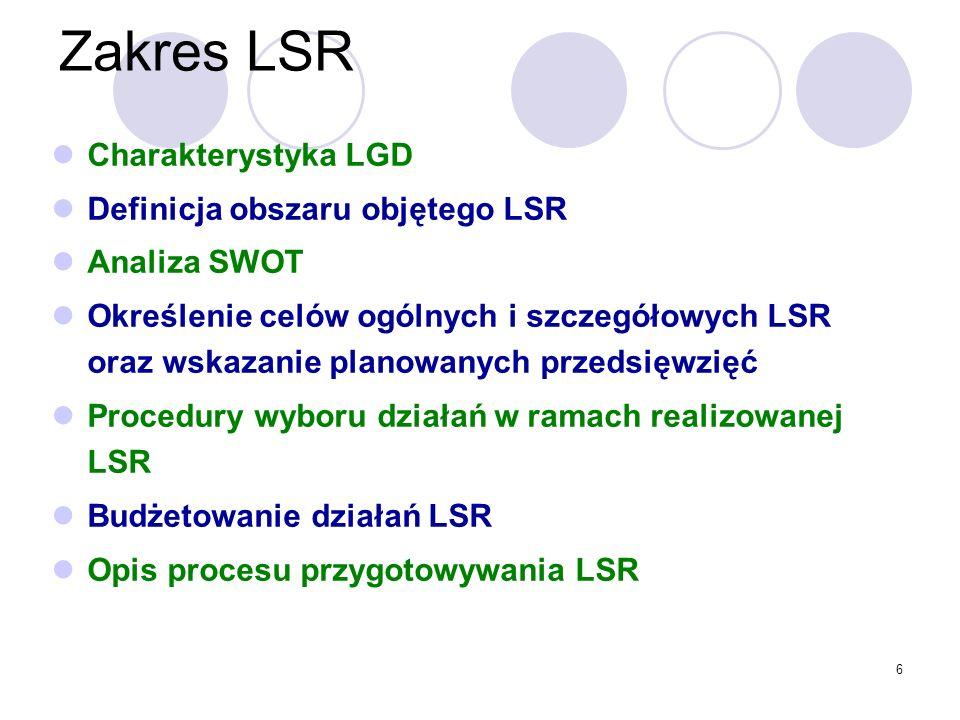 6 Zakres LSR Charakterystyka LGD Definicja obszaru objętego LSR Analiza SWOT Określenie celów ogólnych i szczegółowych LSR oraz wskazanie planowanych