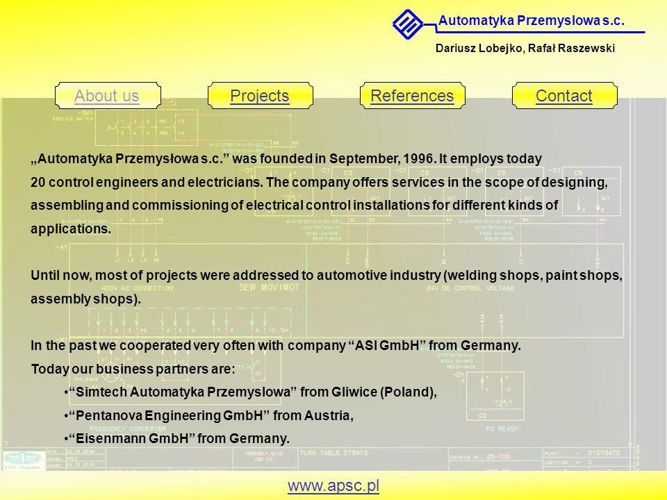 Automatyka Przemyslowa s.c. Dariusz Lobejko, Rafał Raszewski About usProjectsReferencesContact www.apsc.pl Automatyka Przemysłowa s.c. was founded in