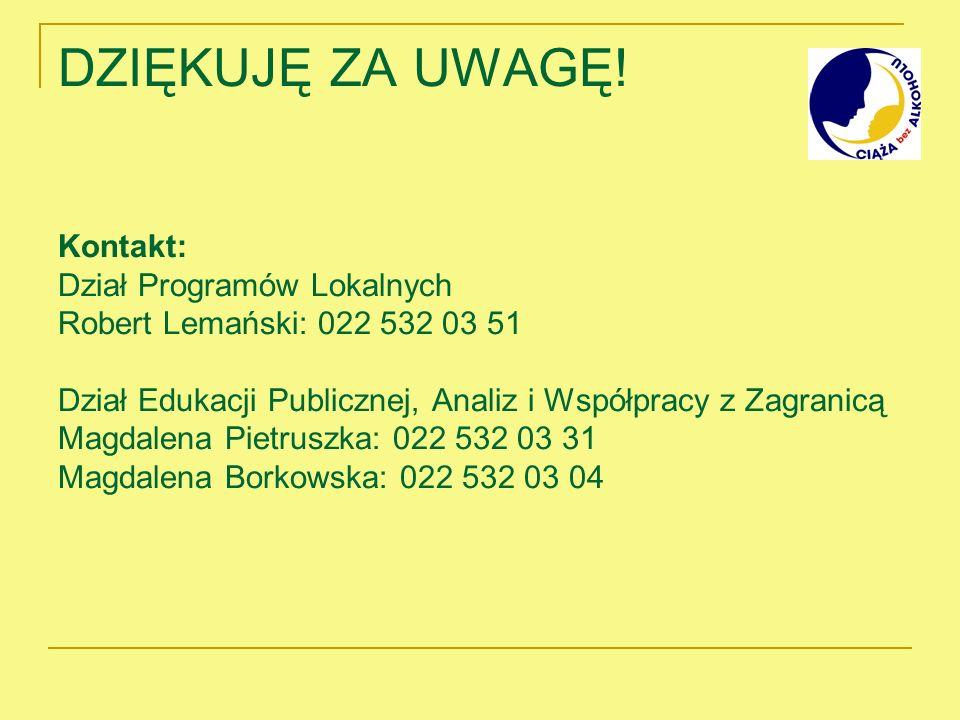 DZIĘKUJĘ ZA UWAGĘ! Kontakt: Dział Programów Lokalnych Robert Lemański: 022 532 03 51 Dział Edukacji Publicznej, Analiz i Współpracy z Zagranicą Magdal