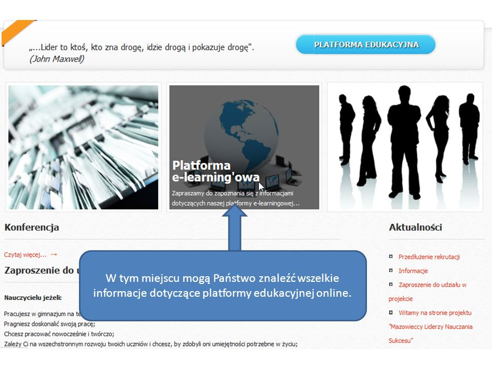W tym miejscu mogą Państwo znaleźć wszelkie informacje dotyczące platformy edukacyjnej online.