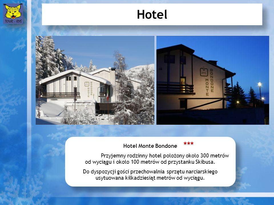 Hotel Hotel Monte Bondone Przyjemny rodzinny hotel położony około 300 metrów od wyciągu i około 100 metrów od przystanku Skibusa.