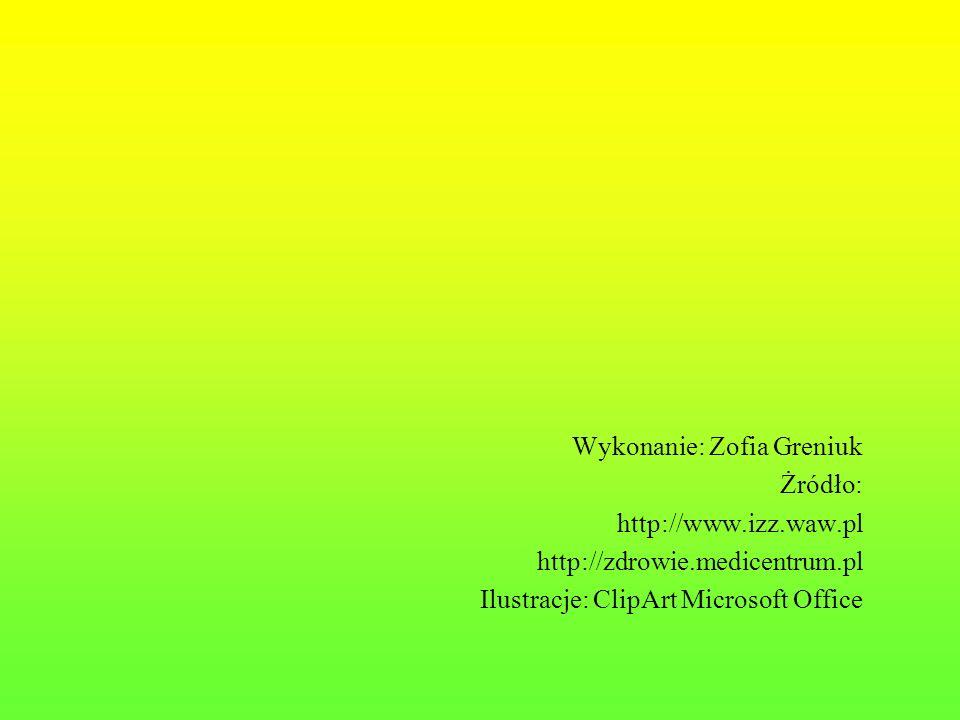 Wykonanie: Zofia Greniuk Żródło: http://www.izz.waw.pl http://zdrowie.medicentrum.pl Ilustracje: ClipArt Microsoft Office