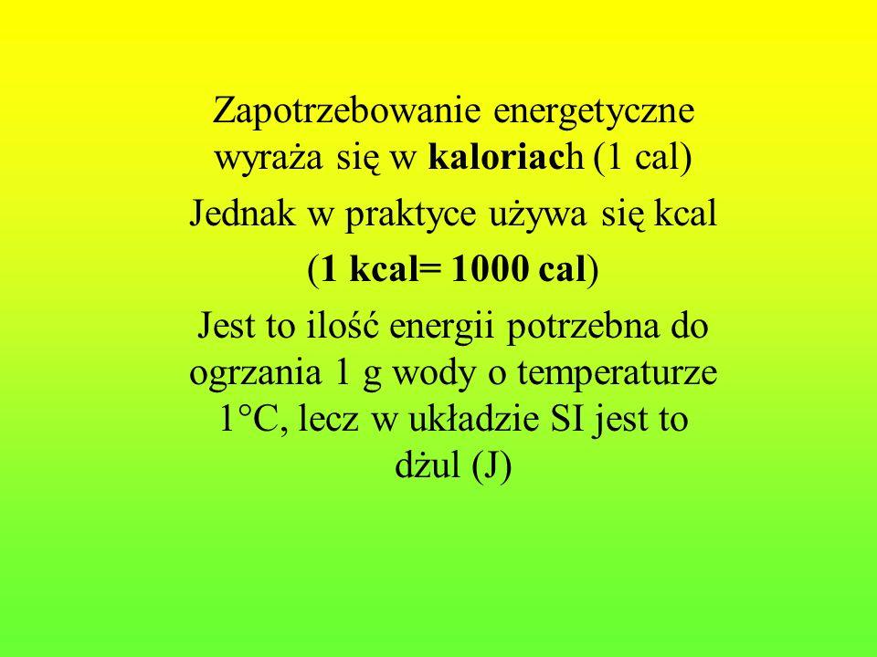 Zapotrzebowanie energetyczne wyraża się w kaloriach (1 cal) Jednak w praktyce używa się kcal (1 kcal= 1000 cal) Jest to ilość energii potrzebna do ogr