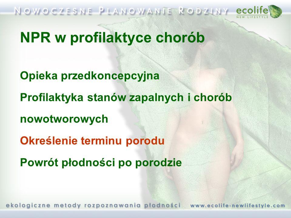 NPR w profilaktyce chorób Opieka przedkoncepcyjna Profilaktyka stanów zapalnych i chorób nowotworowych Określenie terminu porodu Powrót płodności po p