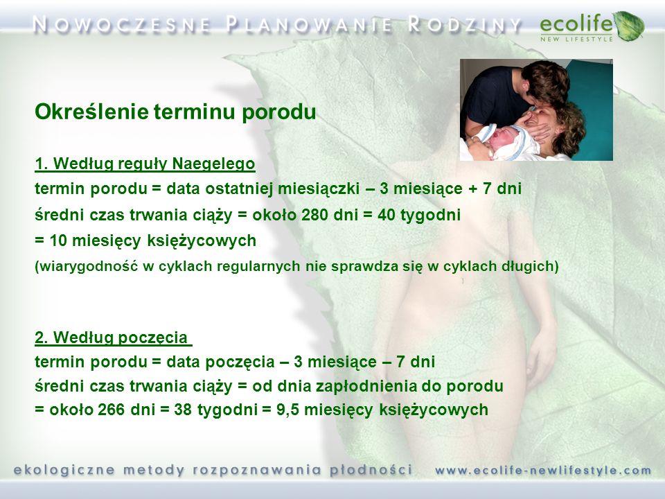 Określenie terminu porodu 1. Według reguły Naegelego termin porodu = data ostatniej miesiączki – 3 miesiące + 7 dni średni czas trwania ciąży = około