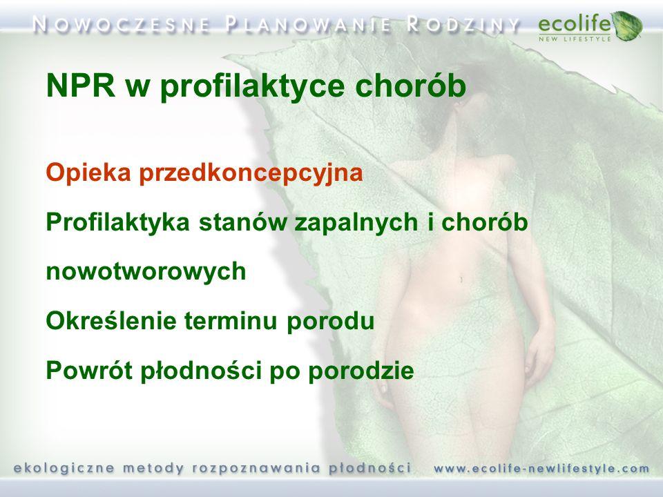 NPR w profilaktyce chorób Opieka przedkoncepcyjna Profilaktyka stanów zapalnych i chorób nowotworowych Określenie terminu porodu Powrót płodności po porodzie