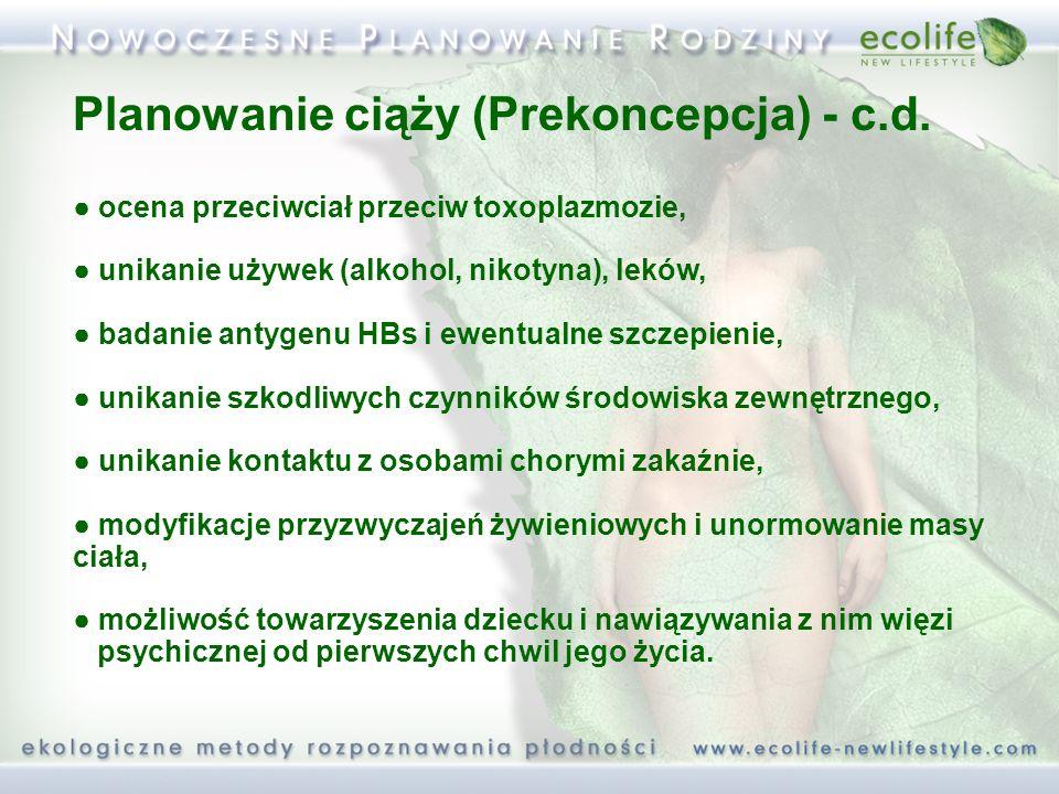 Planowanie ciąży (Prekoncepcja) - c.d. ocena przeciwciał przeciw toxoplazmozie, unikanie używek (alkohol, nikotyna), leków, badanie antygenu HBs i ewe