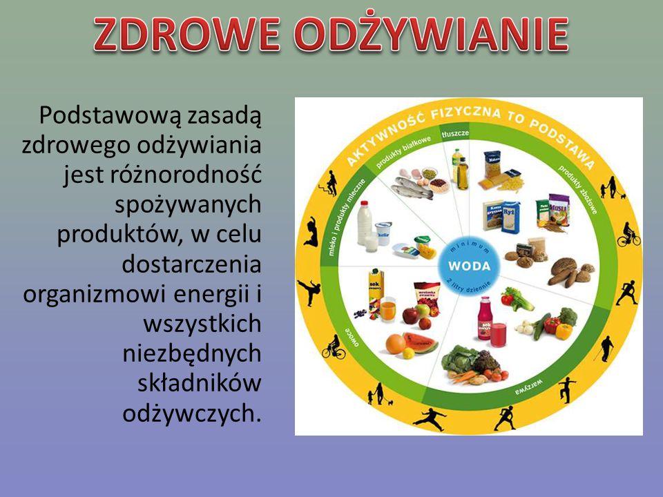 Podstawową zasadą zdrowego odżywiania jest różnorodność spożywanych produktów, w celu dostarczenia organizmowi energii i wszystkich niezbędnych składn