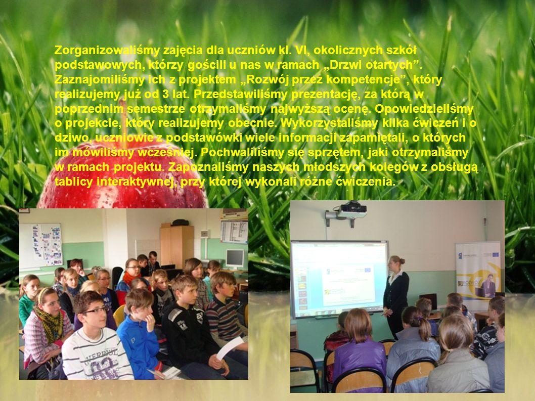 Zorganizowaliśmy zajęcia dla uczniów kl. VI, okolicznych szkół podstawowych, którzy gościli u nas w ramach Drzwi otartych. Zaznajomiliśmy ich z projek