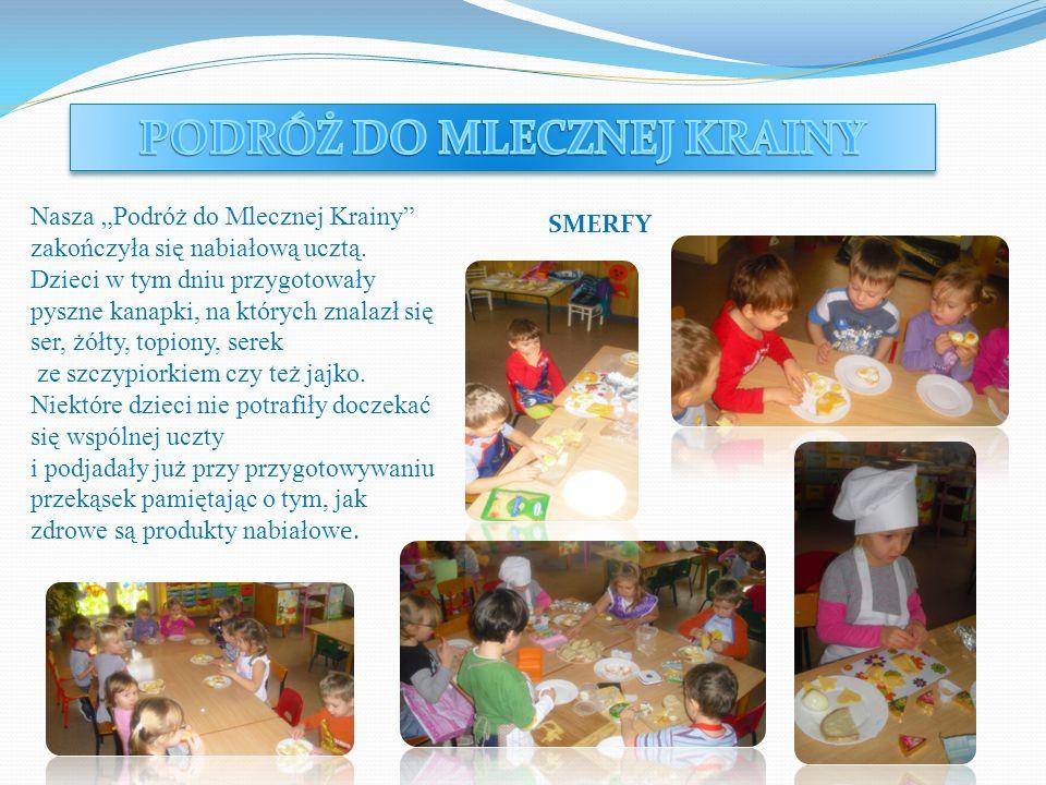 Nasza Podróż do Mlecznej Krainy zakończyła się nabiałową ucztą. Dzieci w tym dniu przygotowały pyszne kanapki, na których znalazł się ser, żółty, topi