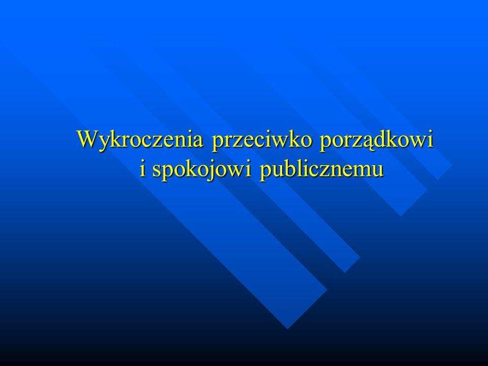 Wykroczenia przeciwko porządkowi i spokojowi publicznemu Wykroczenia przeciwko porządkowi i spokojowi publicznemu