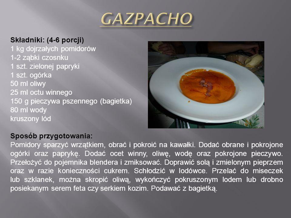 Składniki (na ok. litr zupy): 1kg dojrzałych soczystych pomidory 150 g białego pieczywa z dnia poprzedniego (bagietki) 100 ml oliwy 80 ml wody 1 ząbek
