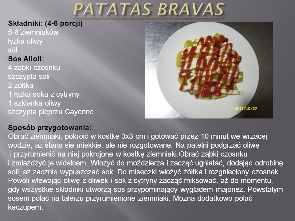 Składniki: (4-6 porcji) 1 kg dojrzałych pomidorów 1-2 ząbki czosnku 1 szt. zielonej papryki 1 szt. ogórka 50 ml oliwy 25 ml octu winnego 150 g pieczyw