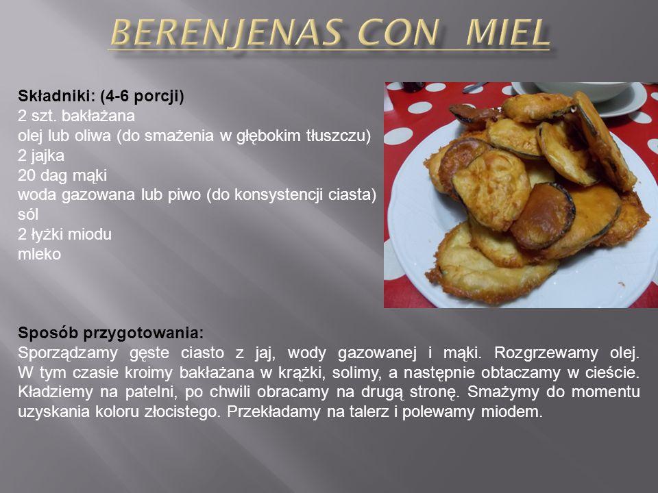 Składniki: (4-6 porcji) 5-6 ziemniaków łyżka oliwy sól Sos Alioli: 4 ząbki czosnku szczypta soli 2 żółtka 1 łyżka soku z cytryny 1 szklanka oliwy szczypta pieprzu Cayenne Sposób przygotowania: Obrać ziemniaki, pokroić w kostkę 3x3 cm i gotować przez 10 minut we wrzącej wodzie, aż staną się miękkie, ale nie rozgotowane.