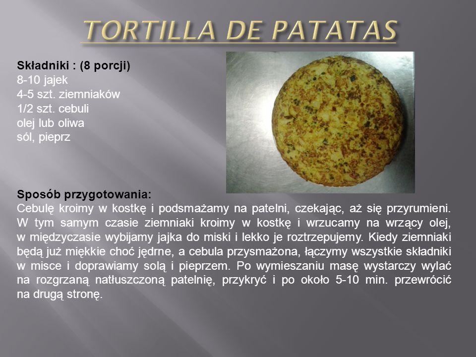 Składniki : (4 porcje) 250 g schabu wieprzowego bez kości 25 g szynki dojrzewającej hiszpańskiej 15 g tartego parmezanu 2 ząbki czosnku 2 jajka 1 szkl