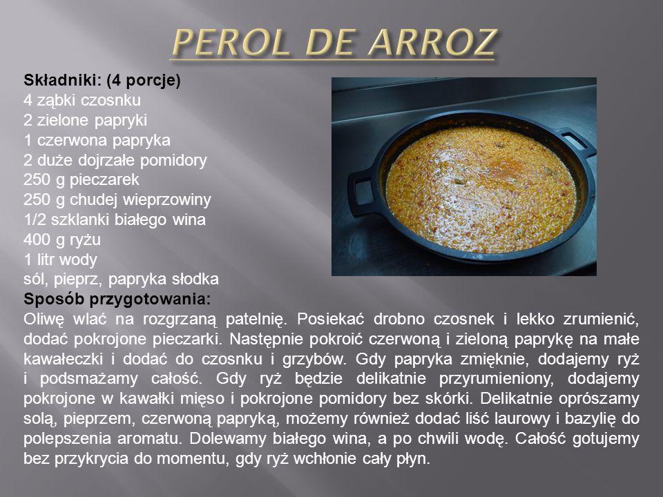 Składniki: (4 porcje) 4 ząbki czosnku 2 zielone papryki 1 czerwona papryka 2 duże dojrzałe pomidory 250 g pieczarek 250 g chudej wieprzowiny 1/2 szklanki białego wina 400 g ryżu 1 litr wody sól, pieprz, papryka słodka Sposób przygotowania: Oliwę wlać na rozgrzaną patelnię.