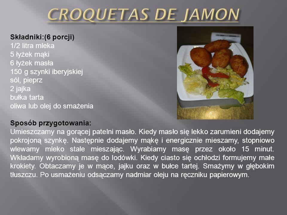 Składniki:(6 porcji) 1/2 litra mleka 5 łyżek mąki 6 łyżek masła 150 g szynki iberyjskiej sól, pieprz 2 jajka bułka tarta oliwa lub olej do smażenia Sposób przygotowania: Umieszczamy na gorącej patelni masło.
