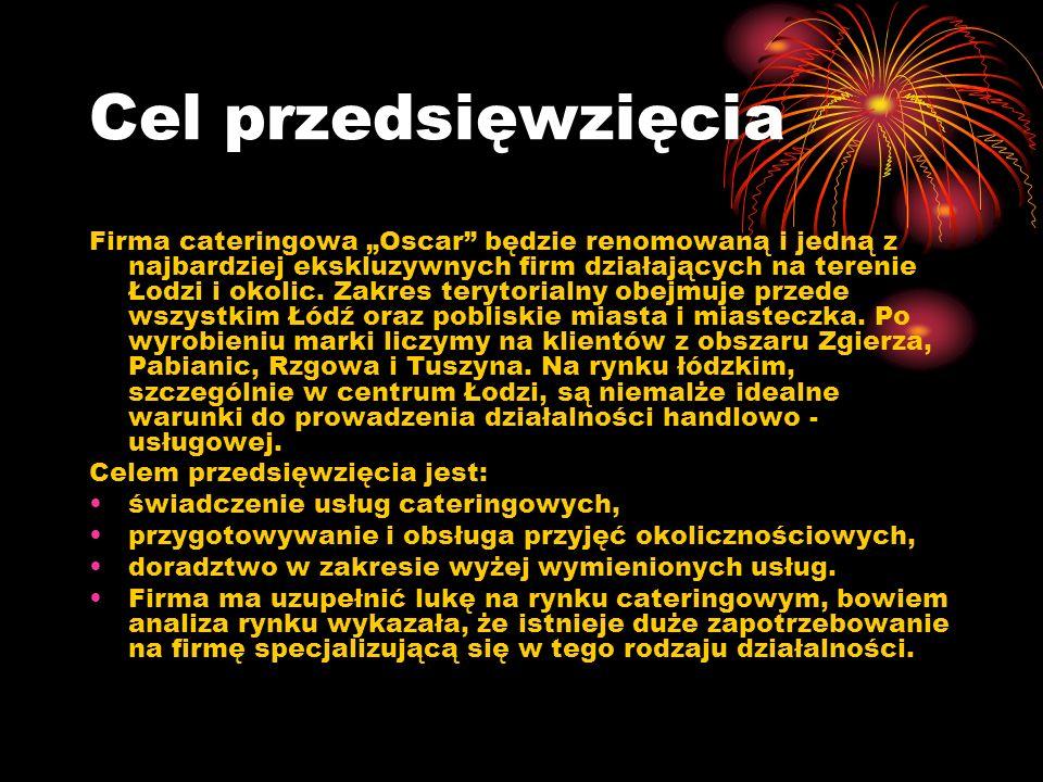 Cel przedsięwzięcia Firma cateringowa Oscar będzie renomowaną i jedną z najbardziej ekskluzywnych firm działających na terenie Łodzi i okolic.