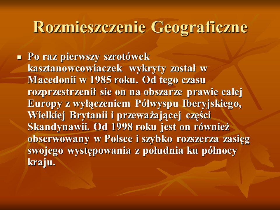 Rozmieszczenie Geograficzne Po raz pierwszy szrotówek kasztanowcowiaczek wykryty został w Macedonii w 1985 roku. Od tego czasu rozprzestrzenił sie on