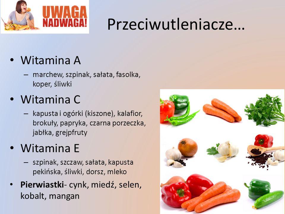 Przeciwutleniacze… Witamina A – marchew, szpinak, sałata, fasolka, koper, śliwki Witamina C – kapusta i ogórki (kiszone), kalafior, brokuły, papryka,