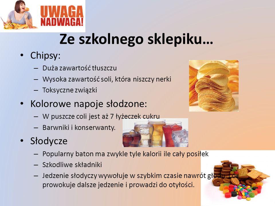 Chipsy: – Duża zawartość tłuszczu – Wysoka zawartość soli, która niszczy nerki – Toksyczne związki Kolorowe napoje słodzone: – W puszcze coli jest aż