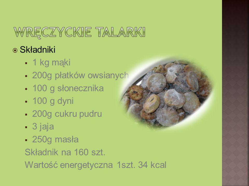 Składniki 1 kg mąki 200g płatków owsianych 100 g słonecznika 100 g dyni 200g cukru pudru 3 jaja 250g masła Składnik na 160 szt. Wartość energetyczna 1