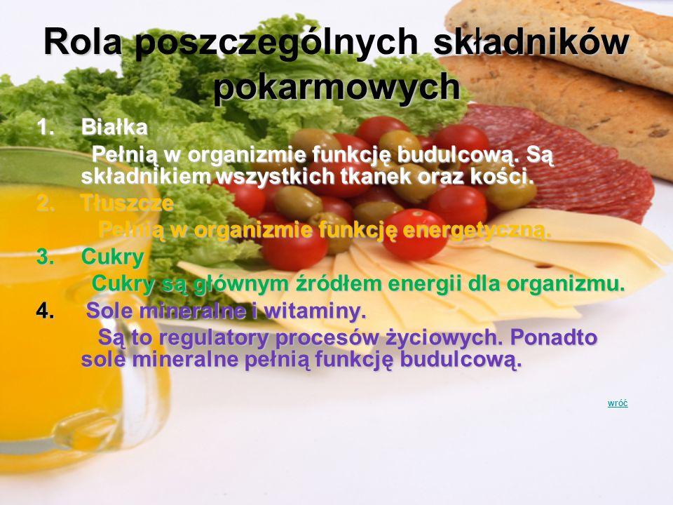 Rola składników pokarmowych Rola poszczególnych składników pokarmowych 1.Białka Pełnią w organizmie funkcję budulcową. Są składnikiem wszystkich tkane