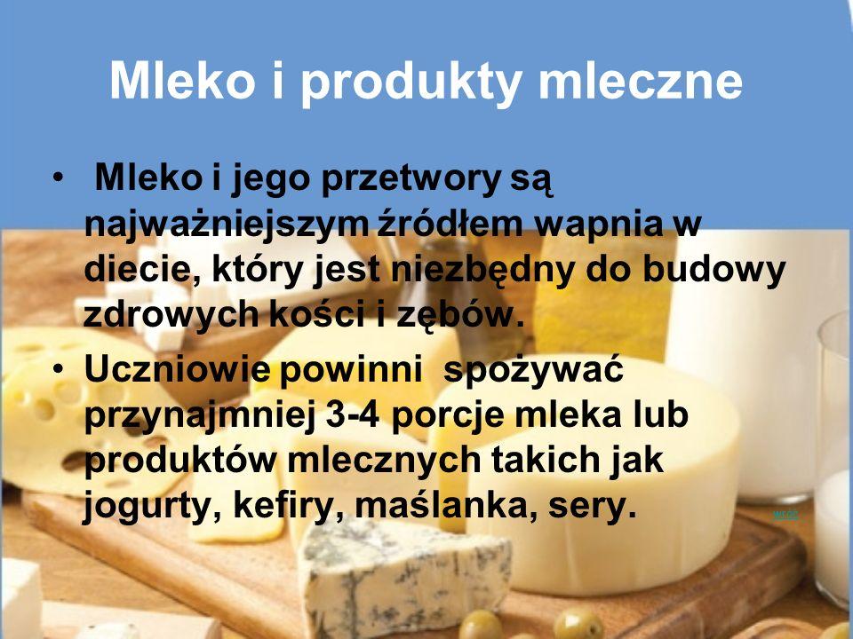 Mleko i produkty mleczne Mleko i jego przetwory są najważniejszym źródłem wapnia w diecie, który jest niezbędny do budowy zdrowych kości i zębów. Uczn