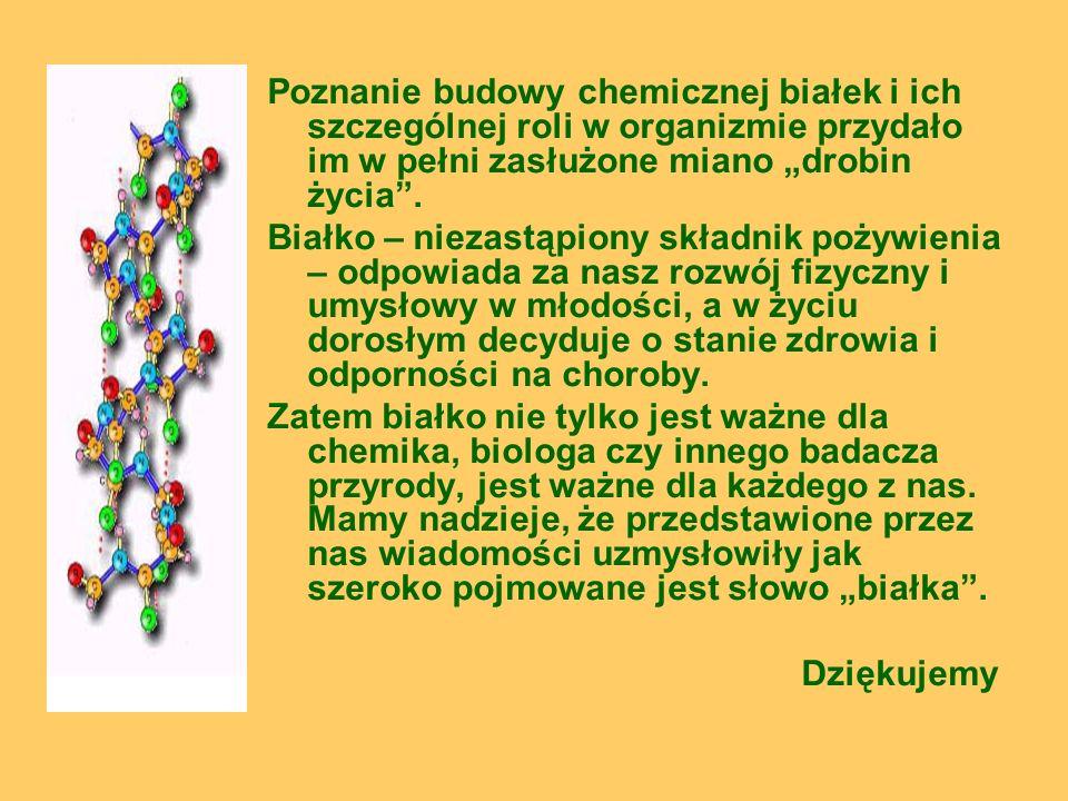 Poznanie budowy chemicznej białek i ich szczególnej roli w organizmie przydało im w pełni zasłużone miano drobin życia. Białko – niezastąpiony składni