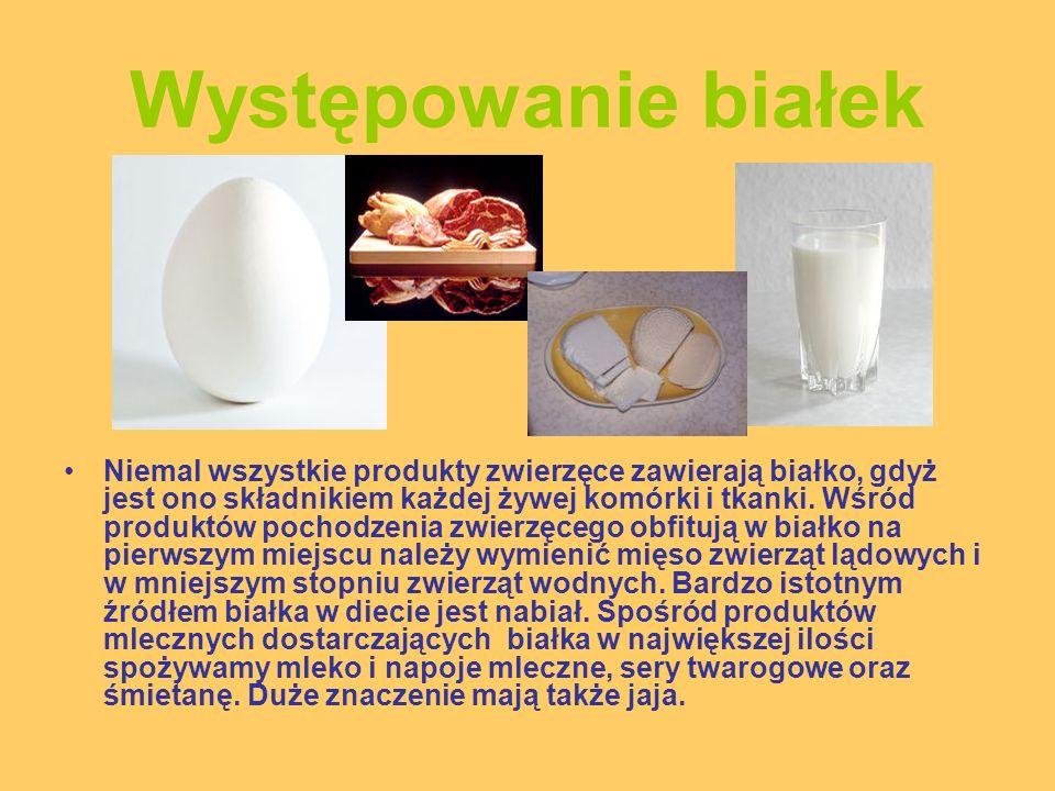 Występowanie białek Wśród pokarmów roślinnych dostarczających białka na pierwszym miejscu należy wymienić zboża i przetwory zbożowe (pszenica, kukurydza, ryż, jęczmień, żyto, owies, proso i sorgo).