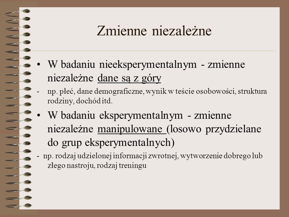 Przykład: badanie nieeksperymentalne vs.