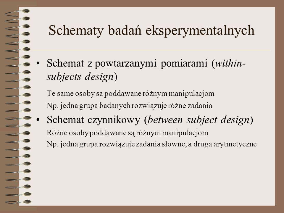 Schematy badań eksperymentalnych Schemat z powtarzanymi pomiarami (within- subjects design) Te same osoby są poddawane różnym manipulacjom Np. jedna g