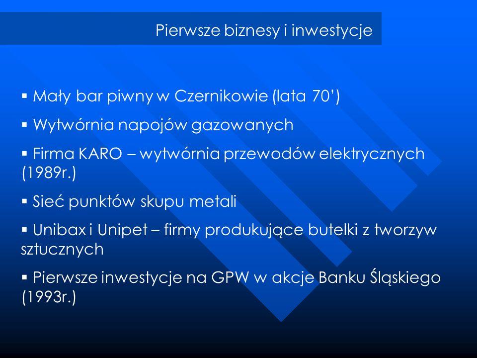Pierwsze biznesy i inwestycje Mały bar piwny w Czernikowie (lata 70) Wytwórnia napojów gazowanych Firma KARO – wytwórnia przewodów elektrycznych (1989