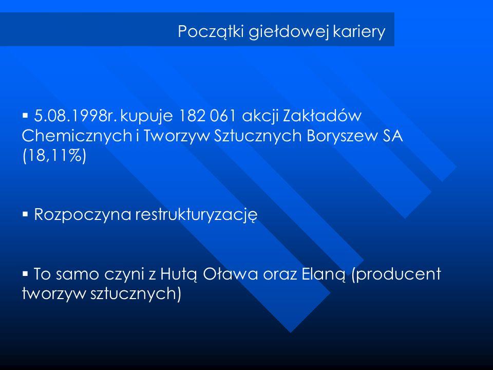 Początki giełdowej kariery 5.08.1998r. kupuje 182 061 akcji Zakładów Chemicznych i Tworzyw Sztucznych Boryszew SA (18,11%) Rozpoczyna restrukturyzację